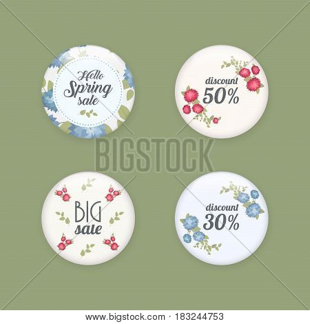 Set of glossy sale buttons or badges. Product promotions. Big sale, special offer, 50 off. Spring tag design, voucher template. Big set. Floral frame for text, isolated on white background