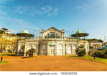 Beautiful historic building interesting architecture with interesting view terraces background buildings on a hill sunny day