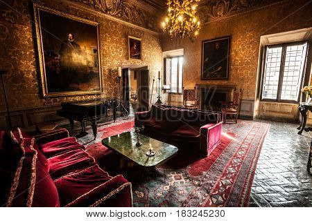 VIGNANELLO, ITALY. November 17, 2015: Room nineteenth century inside the Castello (castle) Ruspoli, 16th-century castle, in the town of Vignanello, Lazio, Italy.