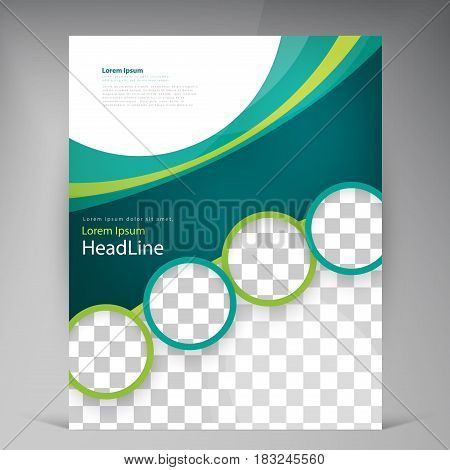 Vector abstract template design leaflet, flyer, poster, brochure, cover with turquoise and green multilayer stripes and round frames