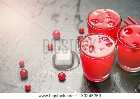 Iced Cranberry Cocktail with Vodka. Alcohol shot drink. Copyspace