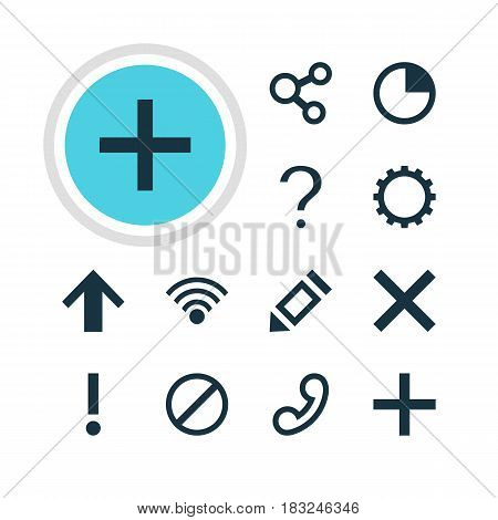 Vector Illustration Of 12 Interface Icons. Editable Pack Of Alert, Pen, Cordless Connection And Other Elements.