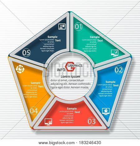 vector abstract 3d paper infographic elements.Circular infographics.Pentagon