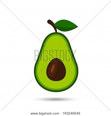 Avocado flat icon fruit with leaf. Vector isolated illustration.