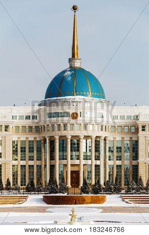 Residence of the President of the Republic of Kazakhstan Ak Orda in Astana, Kazakhstan.