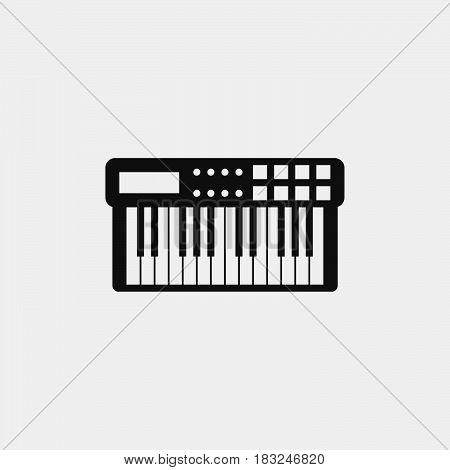 Midi keyboard icon isolated on white background .