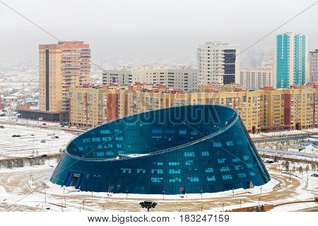 View from above to the Palace of Creativity Shabyt on Independence Square in Astana, Kazakhstan.