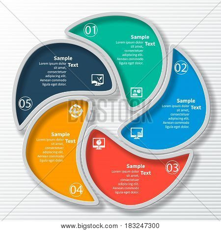 vector abstract 3d paper infographic elements.Circular infographics.5 steps