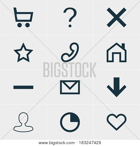 Vector Illustration Of 12 User Icons. Editable Pack Of Wheelbarrow, Wrong, Help And Other Elements.