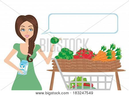 Women shopping vegetables and fruits , vector illustration