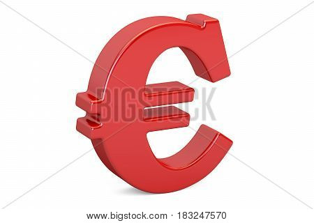 Red euro symbol 3D rendering isolated on white background