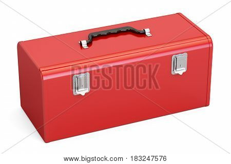 Red Toolbox 3D rendering isolated on white background