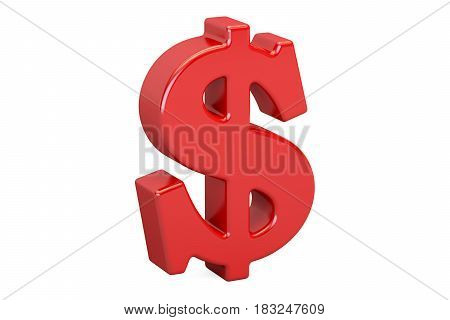 red dollar symbol 3D rendering isolated on white background