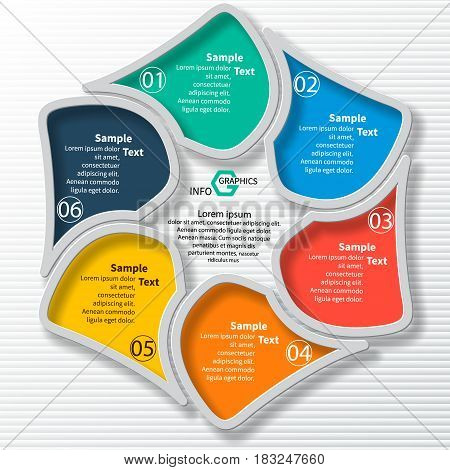 vector abstract 3d paper infographic elements.Circular infographics.6 steps