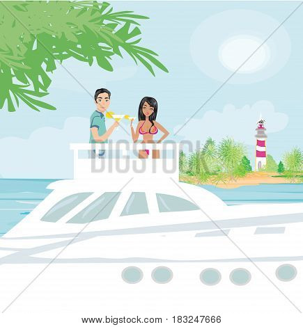Romantic date on the yacht , vector illustration