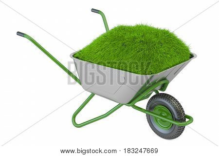 Garden wheelbarrow with soil and green grass 3D rendering isolated on white background