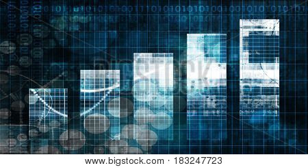 Digital Abstract Background with Growth Bar Chart