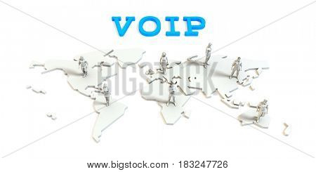 Voip Global Business Abstract with People Standing on Map 3D Illustration Render