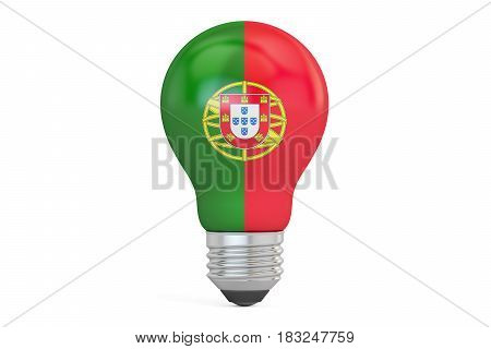 Light bulb with Portugal flag 3D rendering isolated on white background