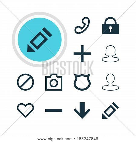 Vector Illustration Of 12 Interface Icons. Editable Pack Of Female User, Padlock, Conservation And Other Elements.