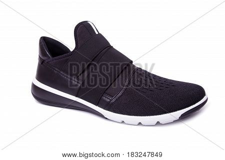 One Of Black Mens Sport Shoes. Isolate On White.