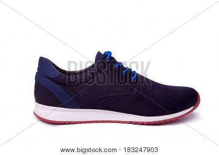 One Of Blue Mens Sport Shoes. Isolate On White.