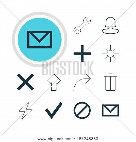 Vector Illustration Of 12 Interface Icons. Editable Pack Of Plus, Confirm, Wrench And Other Elements.