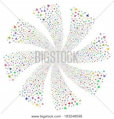 Air Plane fireworks swirl rotation. Vector illustration style is flat bright multicolored iconic symbols on a white background. Object flower created from random symbols.