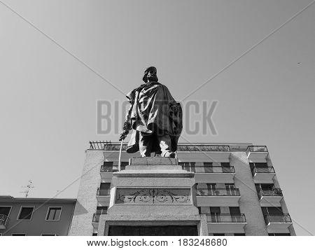 Garibaldi Monument In Como In Black And White