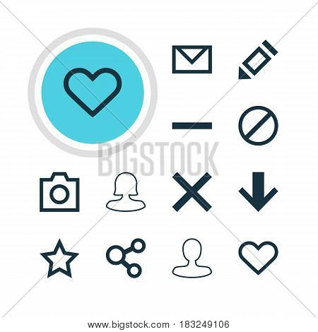 Vector Illustration Of 12 User Icons. Editable Pack Of Publish, Emotion, Downward And Other Elements.