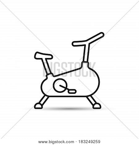 Stationary bicycle Exercise Bike line icon outline vector sign isolated on white bacground.