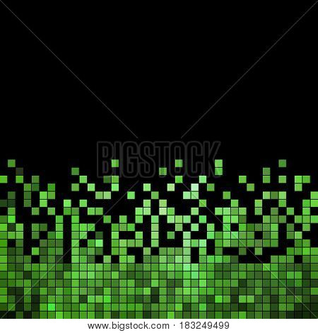 abstract vector square pixel mosaic background - green on black backgrund