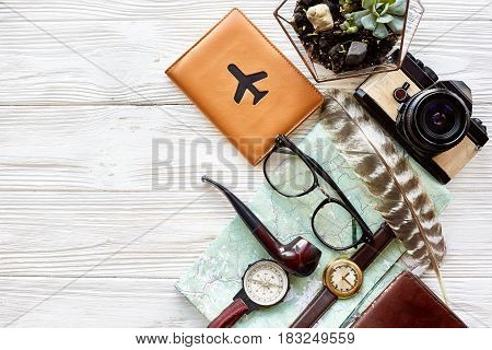 Wanderlust And Travel Concept, Flat Lay. Map Passport Money Compass And Glasses Photo Camera  Pipe O