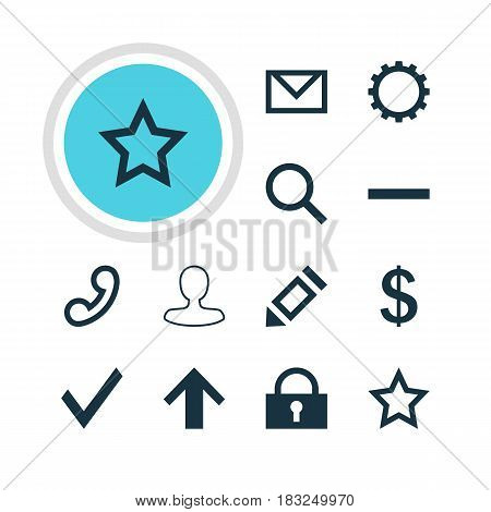 Vector Illustration Of 12 User Icons. Editable Pack Of Cogwheel, Asterisk, Letter And Other Elements.