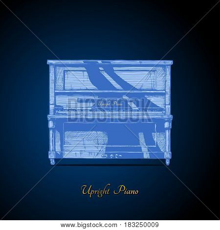 Vector hand drawn illustration of upright piano on dark blue background. front view.