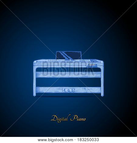 Vector hand drawn illustration of digital piano on dark blue background. front view.