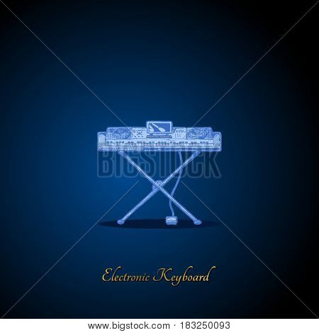 Vector hand drawn illustration of electronic keyboard on dark blue background. front view.