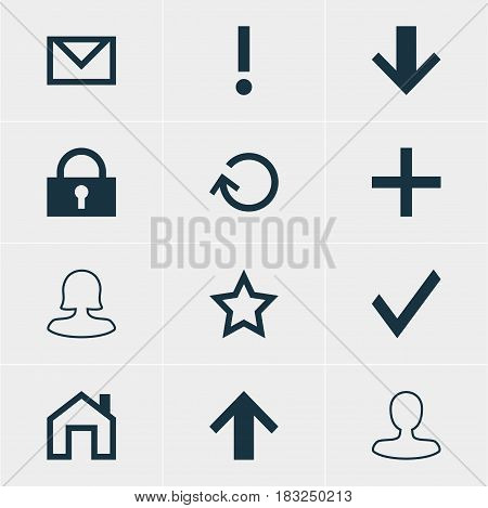 Vector Illustration Of 12 Member Icons. Editable Pack Of Mainpage, Padlock, Renovate And Other Elements.