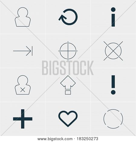 Vector Illustration Of 12 User Icons. Editable Pack Of Banned Member, Info, Alert And Other Elements.