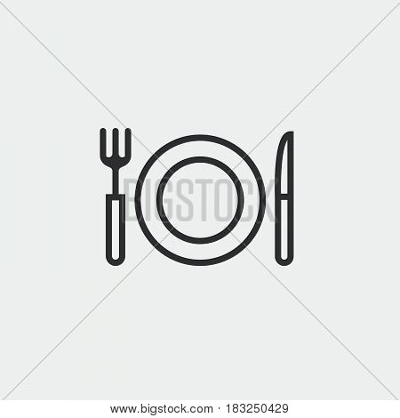 fork knife and dish icon isolated on white background .