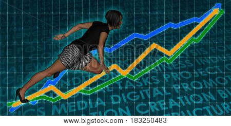 Professional Services with Woman and Graph Background 3D Illustration Render