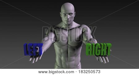 Left or Right as a Versus Choice of Different Belief 3D Illustration Render