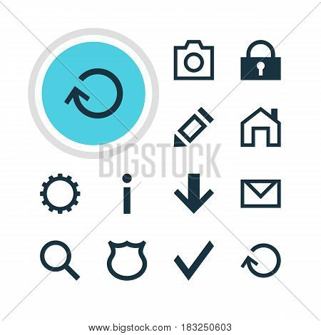 Vector Illustration Of 12 Member Icons. Editable Pack Of Renovate, Check, Letter And Other Elements.