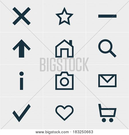 Vector Illustration Of 12 Member Icons. Editable Pack Of Check, Mainpage, Info And Other Elements.