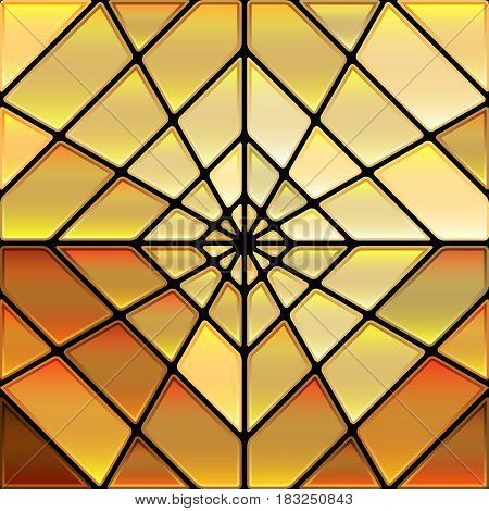 abstract vector stained-glass mosaic background - golden orange rhombus