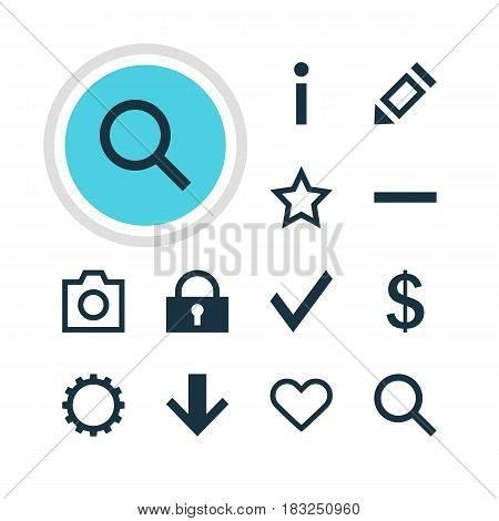 Vector Illustration Of 12 Interface Icons. Editable Pack Of Money Making, Seek, Asterisk And Other Elements.