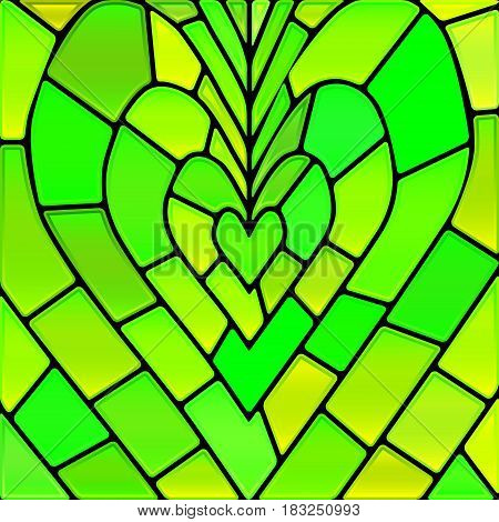 abstract vector stained-glass mosaic background - green and yellow heart