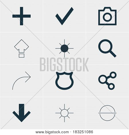 Vector Illustration Of 12 Member Icons. Editable Pack Of Seek, Full Brightness, Confirm And Other Elements.