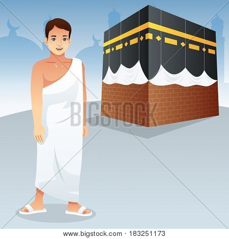 A vector illustration of Muslim Man in Front of Kaaba