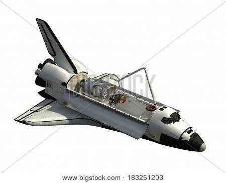 Space Shuttle Orbiter On White Background. 3D Illustration.